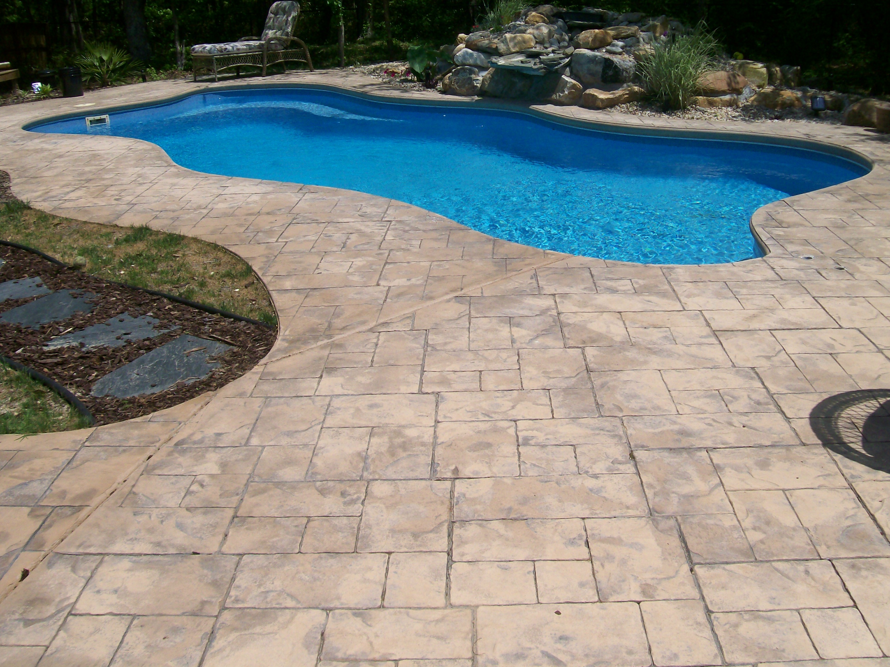 Stamped Concrete Around Pool Delectable Concrete Stamped Border Driveway With Broom Finish Interior.